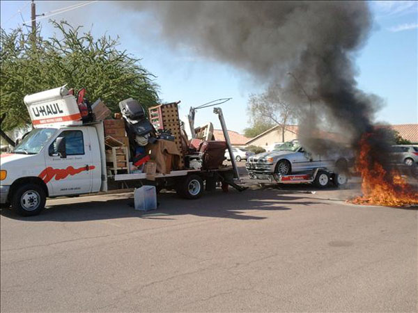 Moving Truck Explosion Fail